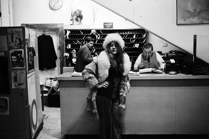Janis Joplin in the lobby of the Chelsea Hotel in 1969: the singer spent time there with resident Leonard Cohen